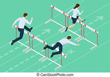 Isometric business peole jumping over obstacle. Overcome obstacles. Business competition concept