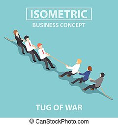 Isometric business people playing tug of war - Business...