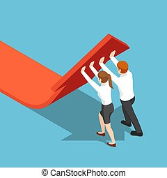Isometric business people push arrow graph up