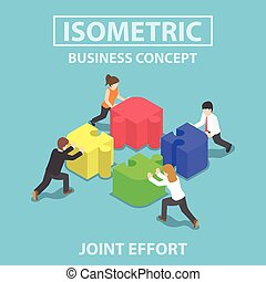 Isometric business people pushing and assembling four jigsaw...