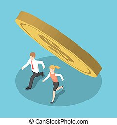 Isometric business people running away from coin that falling.