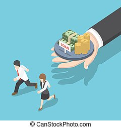 Isometric Business People Running Away from Loan Offer