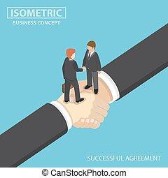 Isometric business people shaking hands on big handshake.