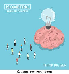 Isometric business people standing in front of the big brain and light bulb of idea