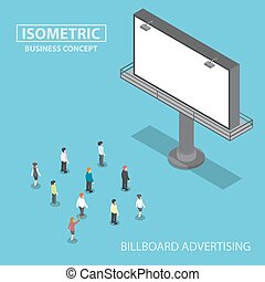 Isometric business people standing in front of large billboard
