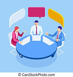 Isometric business people talking conference meeting room. Team work process. Business management teamwork meeting and brainstorming.