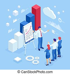 Isometric business people talking conference meeting room. Team work process. Business management teamwork meeting and brainstorming. Expert team for data analysis, business statistic