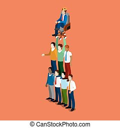 Isometric Business People. Team Work Leadership Concept. Vector 3d flat illustration