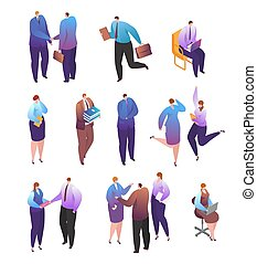 Isometric business people vector illustration, cartoon 3d man woman employee character in office professional work poses isolated on white