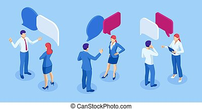Isometric Business People Working and Speech Bubble, Brainstorming, Business Corporate Meeting concept.