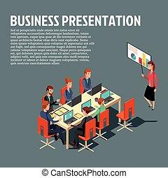 Isometric business presentation, meeting, financial report flat illustration