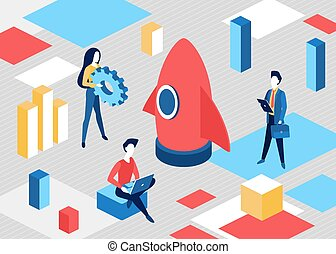 Isometric business start up concept, project startup process