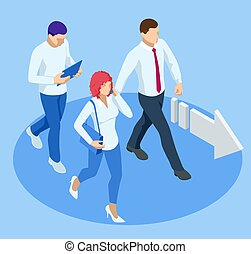 Isometric Business Success Concept. Entrepreneur business man leader. The young businessman pointed in the direction he was heading. Start up a new to goal.