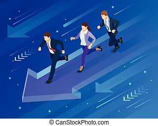 Isometric Business Success Concept. Path to the goal. Entrepreneur businessman leader. Vector illustration