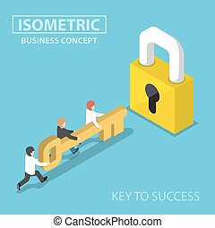 Isometric business team holding golden key to unlock the lock