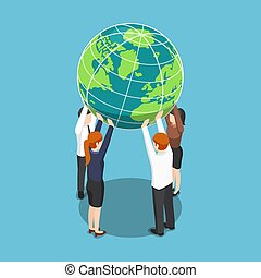 Isometric business team holding world over their head