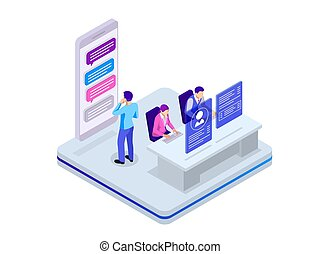 Isometric business teamwork concept. Business project team working together at meeting room at office. Vector illustration