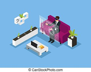 Isometric Business Technology Concept