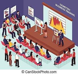 Isometric Business Training Illustration