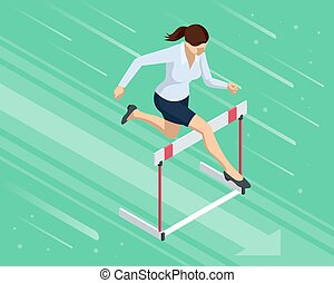 Isometric business woman jumping over an obstacle. Overcome obstacles. Business competition concept