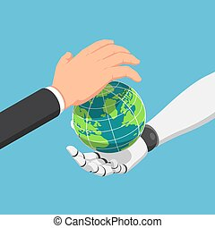 Isometric businessman and ai robot hand protecting the world together