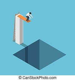 Isometric businessman at the highest point ready to jump...