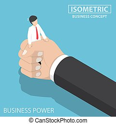 Isometric businessman being squeezed by big hand
