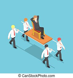 Isometric businessman carrying his boss