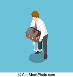 Isometric businessman carrying home that chained with his ankles.