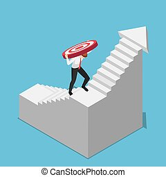 Isometric businessman carrying target while climbing upward on the stairs