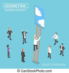 Isometric businessman climbing ladder to the door