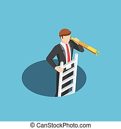 Isometric businessman climbs out of the hole by ladder and using telescope