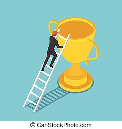 Isometric businessman climbs up ladder to the trophy