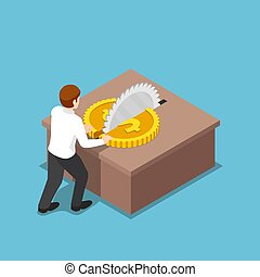 Isometric businessman cut a coin in half on table saw