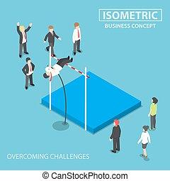 Isometric businessman doing the pole vault