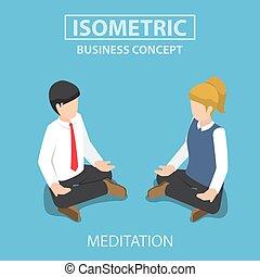 Isometric businessman doing yoga in lotus pose.