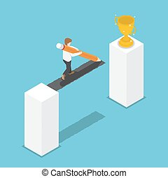 Isometric businessman drawing bridge by pencil leading to the winner trophy.