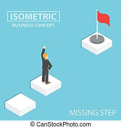 Isometric businessman facing with the missing step to...