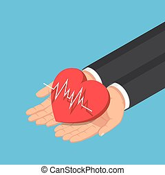 Isometric businessman hand holding red heart with electrocardiography line