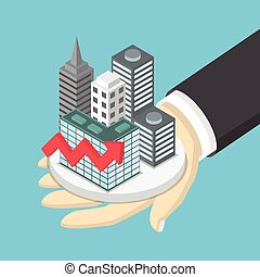 Isometric businessman hand holding the city with growth graph