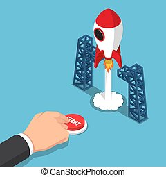 Isometric businessman hand presses start button to launches a space rocket