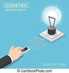 Isometric Businessman Hand Pushing Switch To Turn Light Bulb Of Idea On