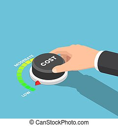 Isometric businessman hand turn cost dial to low position