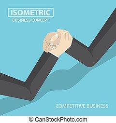 Isometric businessman hands doing arm wrestling