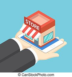 Isometric businessman hands holding tablet with shopping store.
