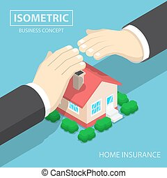 Isometric businessman hands protecting the house