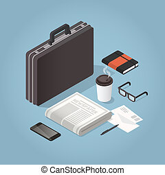 Isometric Businessman Hard Case Illustration - Vector...