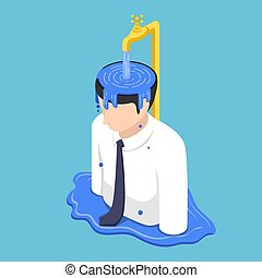 Isometric businessman head overflow by water from golden faucet