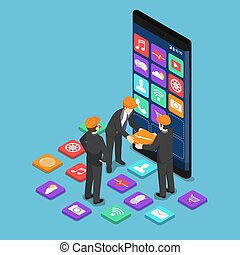Isometric businessman help each other to build mobile application
