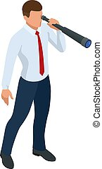 Isometric businessman isolated on write. Creating an office worker character, cartoon people. Business people.
